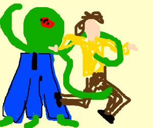 Three armed, legged, octopus man mugs a guy