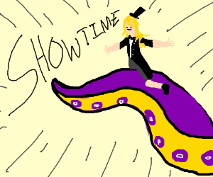 A woman riding a squid tentacle having a showe