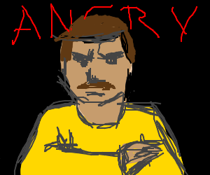 angry man in yellow shirt