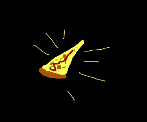 glowing pizza slice