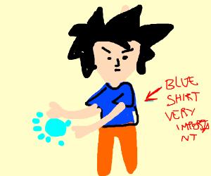 Bald blue shirt goku charging up is kamehameha