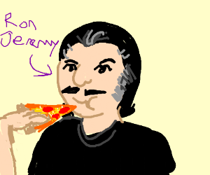 Ron and jeremy eating pizza