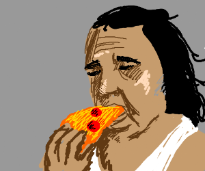Ron Jeremi eating a pizza