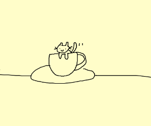 Cat crawls out of a cup
