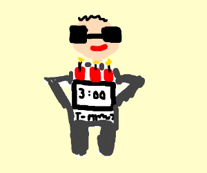 Bomb on guy with shades detonates in 3 mins