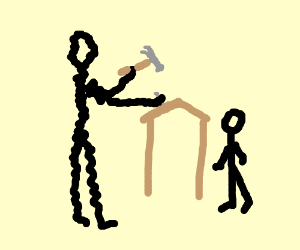 Wiggly Dad holding a hammer