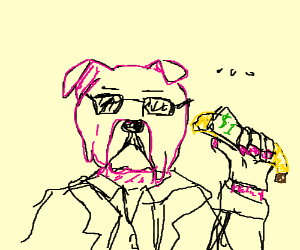 pink dog with a dollar tied to a banana
