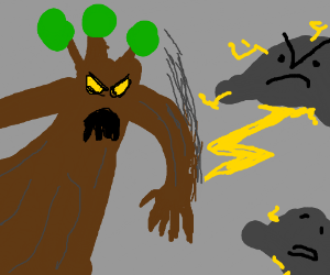 a tree monster fights lightning clouds