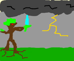 tree monster battles the stormclouds