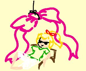 Bibi Blocksberg is chilling under a pink bow
