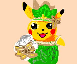 Pikachu wearing an hawaiian flower crown