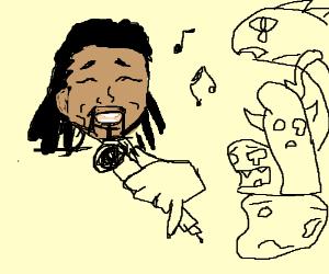 Reggae man sings to sad monsters