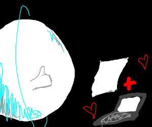 Uranus approves of laptop + paper's love