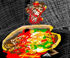Homeless man gets splattered by pizza.
