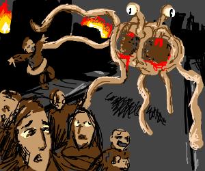 Giant Flying Spaghetti Monster attacks ppl