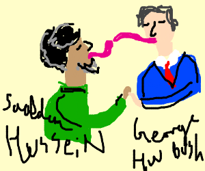 saddam hussein makes out with george h w bush