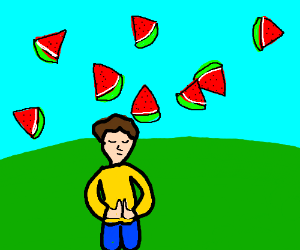 Man prays as watermelon rains from the sky