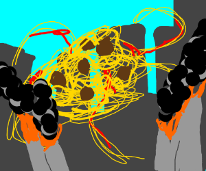 Flying spaghetti monster destroying the city