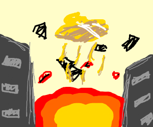 flying spaghetti monster destroys a city