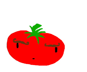 tomato with mustache eyebrows