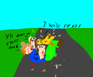Farmer Wrestles With Chicken/Road Dilemna