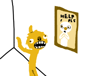 Yellow monster sees friend trapped in painting