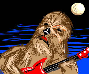 Chewbacca plays the electric guitar at night.