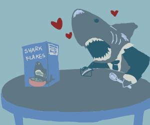 Business Shark enjoys cereal.