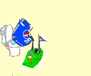Pepsi can has a golf course on his toilet