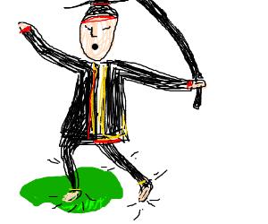 A samurai steps in puke