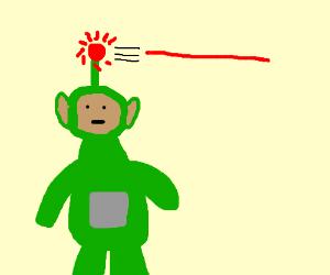 Green teletubby shooting laser w/ his antenna