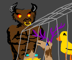 Minotaur imprisons a duck,a moose, & a man.