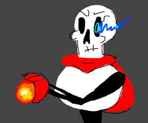Papyrus with sans power touches a fire orb