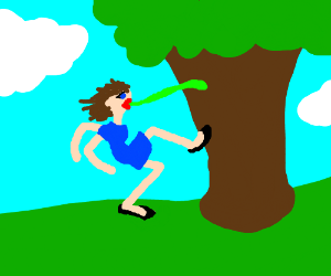 Woman with frog tongue kicking a tree.