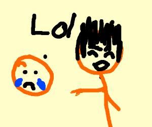 orange person laughs at crying orange