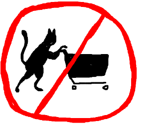 Cats pushing carts are forbidden