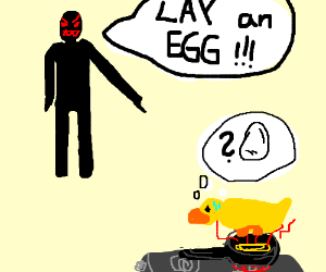 Duck forced to lay an egg on a hot pan