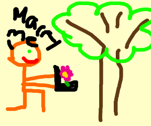 Orange dude proposing to a tree with a flower