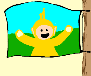 A flag with The Yellow teletoppie