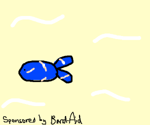 Blue fish with a lot of bandaids on