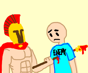 Trojan impales enemy on spear
