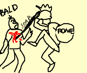 Roman Gladiator stabs bald guy with a spear