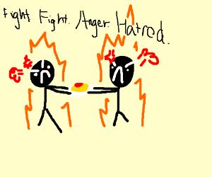 Black men fight over Spaghetti