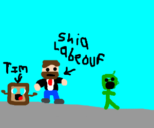 Boxy shia labeouf&concerned green squiggle man