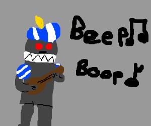 Renaissance robot plays the ukulele.