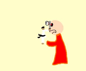 Miniature samurai gouges out bald man's eye