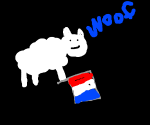 Adorable Fwuffy Doggy on a french flag