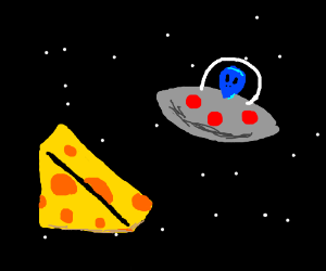 Blue alien in space looks at cheese