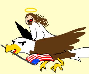 Jesus rides an american eagle