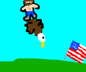 ripped abe lincoln descends on bald eagle